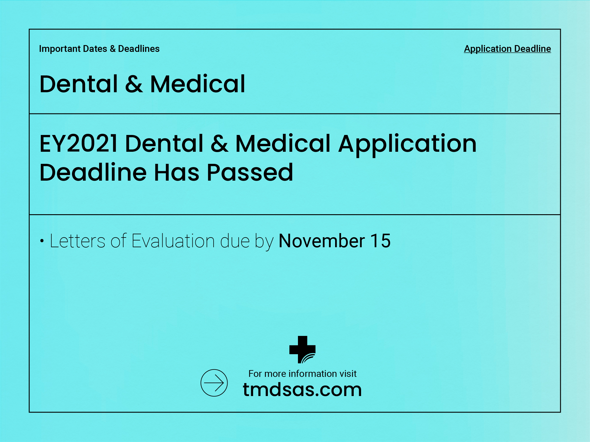 The deadline for EY2021 Dental and Medical Applicants has passed.